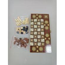 3 в 1 (шахматы, шашки, нарды) цветная 39*19*4